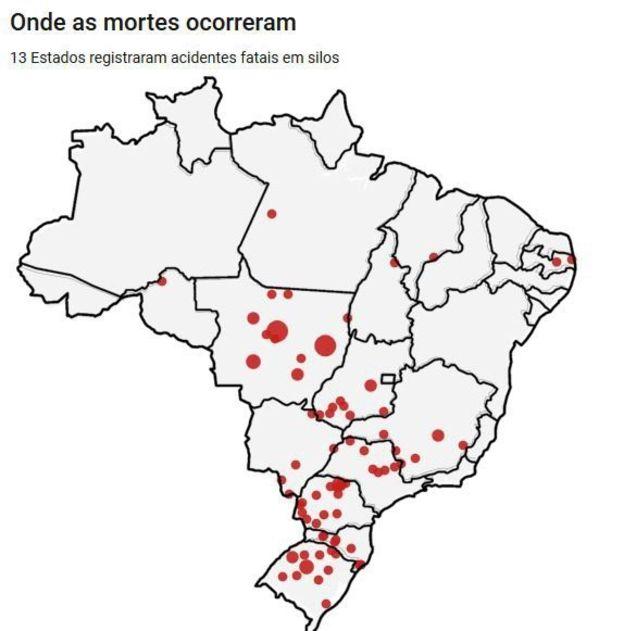 Mapa do Brasil - Mortes em Silos